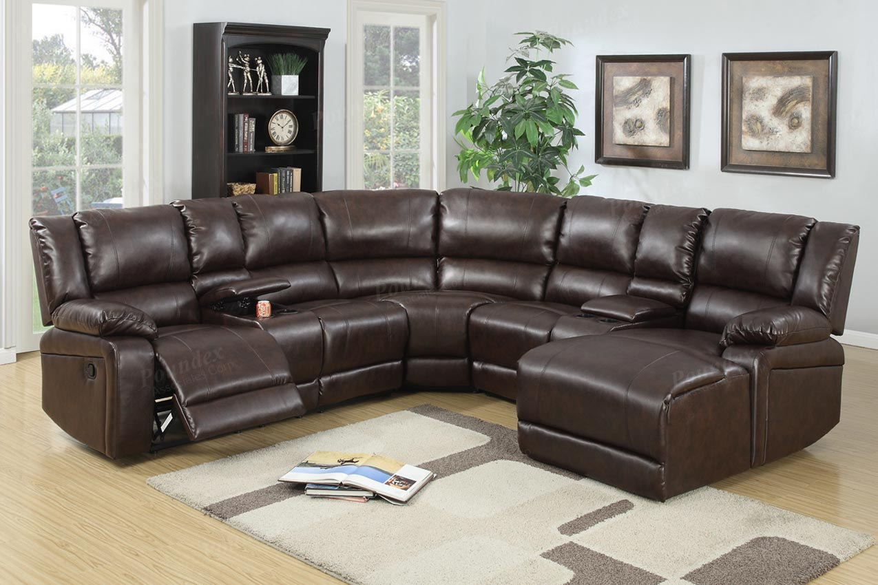 5 pcs reclining sectional brown leather sofa set for Sectional sofas with 4 recliners