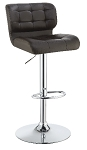 Upholstered Adjustable Bar Stools Chrome and Brown, Grey or  White (Set of 2)