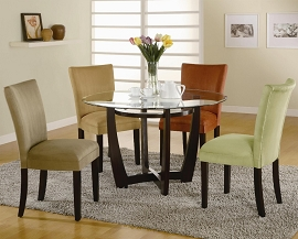 5 Pcs Round Glass Dining Table with CAPPUCCINO Chairs