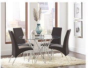Contemporary Metal/Glass Dining set- White and Black