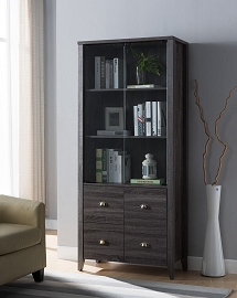 Distressed Grey Book Cabinet