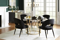 Lindsey 5-Piece Round Dining Set Sunny Gold And Black