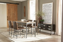 Rooks 5-Piece Rectangular Dining Set Weathered Elm And Antique Brown