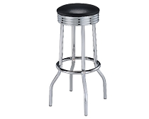 Upholstered Top Bar Stools Black, White or Red and Chrome (Set of 2)