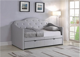 Grey Leatherette Twin Daybed