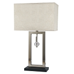 Brush Steel Open Accent Table Lamp with Autumn Beige Shade - 31