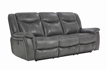 Conrad Upholstered Power Sofa With Drop-Down Table Grey