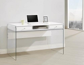 Modern White Computer Desk with Glass Sides
