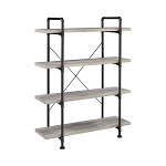 Delray 4-Tier Open Shelving Bookcase Grey Driftwood And Black
