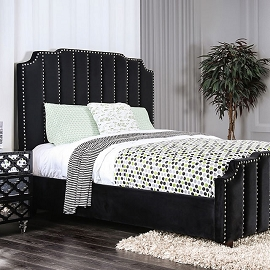 Black Padded Flannelette Fabric Bed Frame
