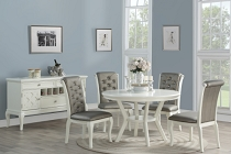 5 Pcs Glossy White Dining Table Set