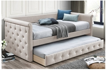 Beige Button tufted design Bed w/ Slats + Trundle