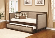 Rich Amber with Oatmeal Fabrics Twin Daybed with Trundle