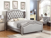 Belmont Grey/Metallic Upholstered Bed -