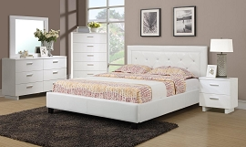 White  Leatherette Bed Frame
