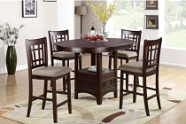 5 Pcs Circle Wooden Counter Height Dining Set