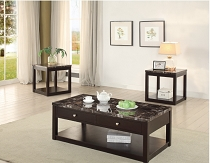 3 Pcs Faux Marble Finished Table Set