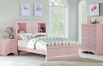 Twin White/Pink Faux Leather Bed
