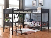 Meyers Traditional Grey Twin-Over-Twin Bunk Bed- Optional Loft Extention