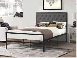 Metal Bed - Grey Fabric- twin or full
