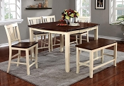 8 Pcs Cherry/Vintage White Counter Height Dining Table Set