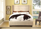 Contemporary Ivory Fabric Bed Frame